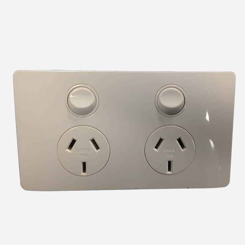 CMS POWER OUTLET DOUBLE NATURAL WHITE for Caravan 240 electrics CMS