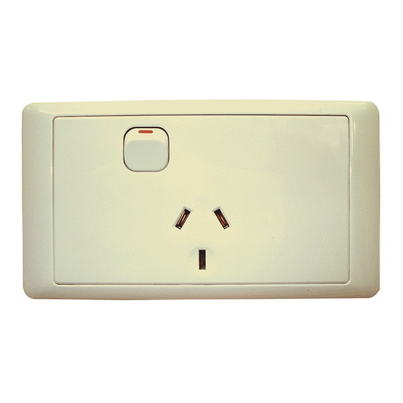 CMS SINGLE BEIGE 10AMP POWER OUTLET W-20AMP INSTALL COUPLERS for Caravan 240 electrics CMS
