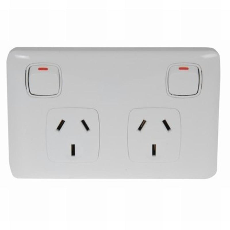 Double Pole Twin Outlet GPO for caravan or motorhome Coast to Coast