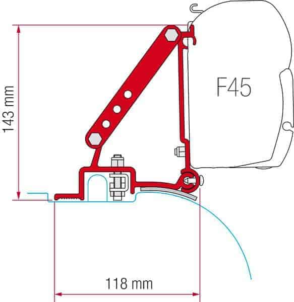 FIAMMA F45 AWN BRACKET FOR FIAT DUCATO KIT (2PCE). 98655-680