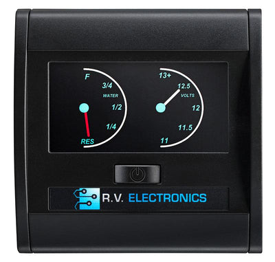 RV Electronics LCD Single Tank Water Level Indicator and Voltmeter Combination Gauge RV Electronics