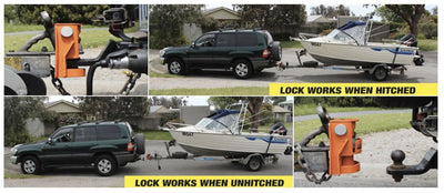 Saracen Ultra hitch lock suits Australian standard 50mm ball hitches on vehicle and off PurpleLine