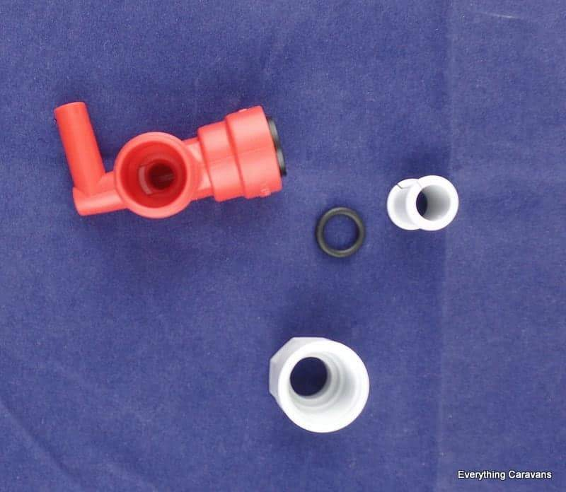 Truma B14 Hot Water Service, Hot connector ELBOW JG 12MM RED Truma