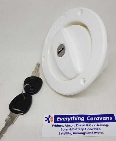 White Lockable water filler complete with cap & keys for  RV and Caravans Coast to Coast
