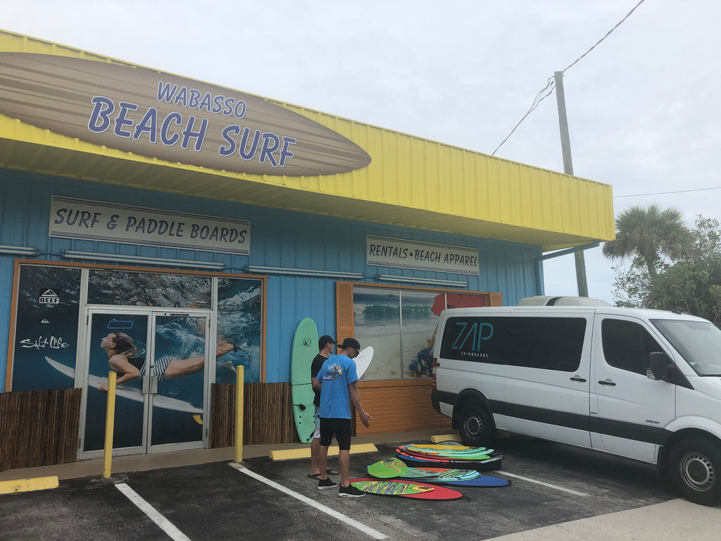 Pro Rider: Naji Taha Stocking Up Wabasso Beach Shop With Fresh Boards And Showing Some New Color Way's Of Our Beginner Lineup