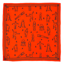 Load image into Gallery viewer, Bright red bandana with black outlines of people showing their butts.