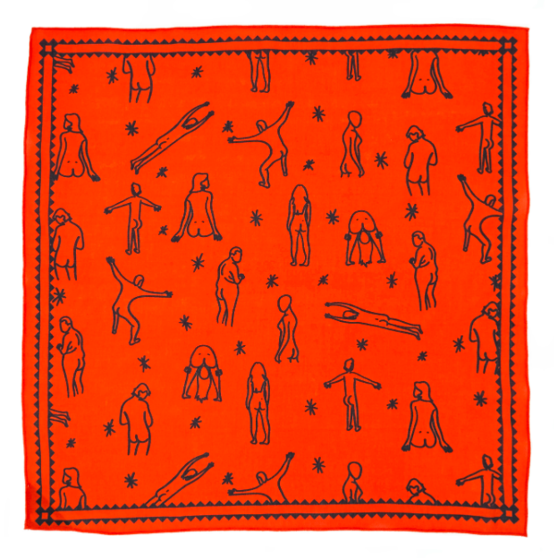 Bright red bandana with black outlines of people showing their butts.