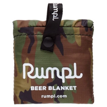 Load image into Gallery viewer, Woodland Camo beer blanket shown in its travel size form.