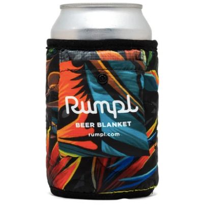 Pyrotropic beer blanket. Color scheme of bright orange, yellow, red, light brown, black, light blue, and teal. Patterns of tropical leaves.