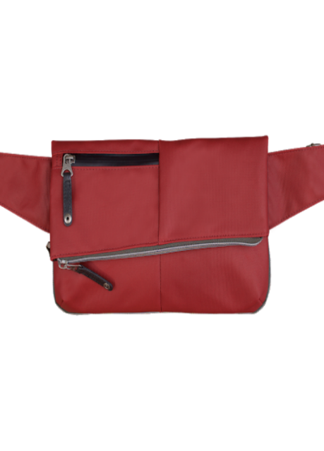 Product image of the Urban Cross Pack in red. Featuring 2 zipper compartments with black accents.