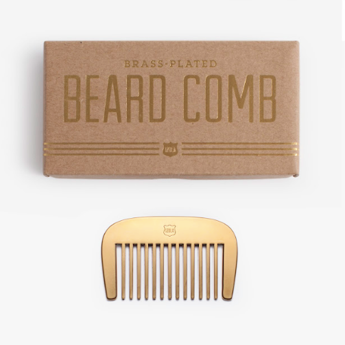 Brass plated beard comb and box.