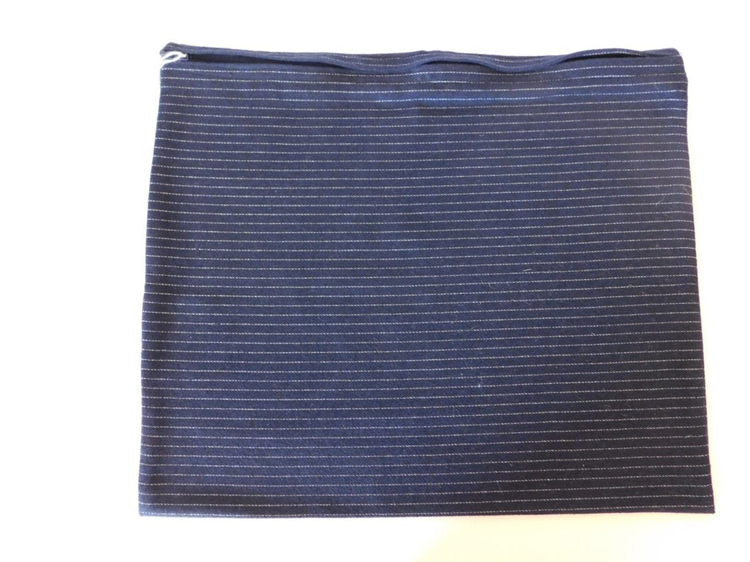 SQUARE CUSHION COVER DARK BLUE STRIPED