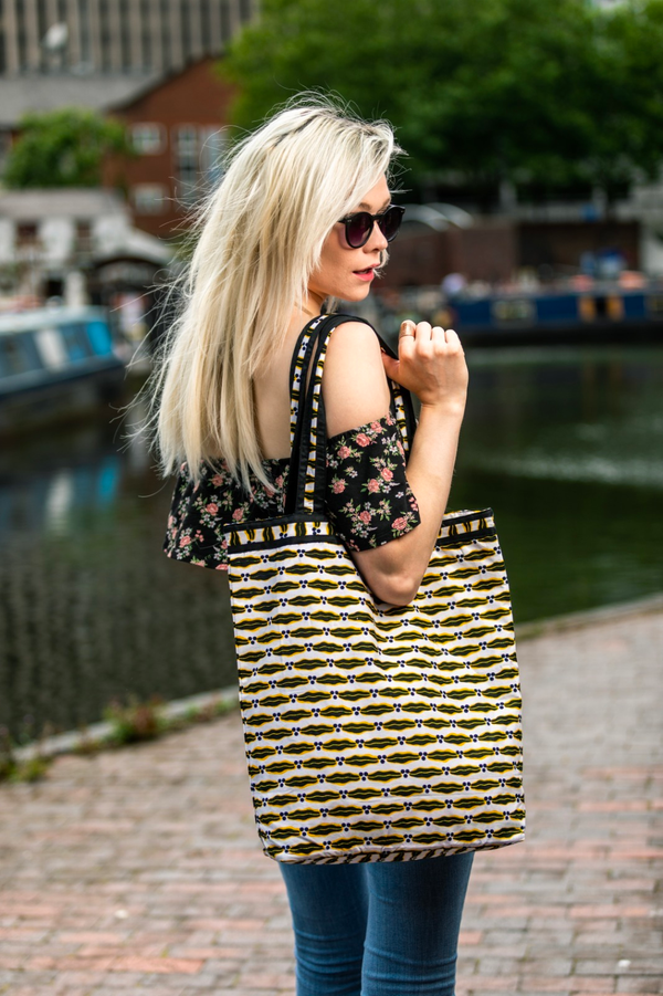 CONSTANCE BLACK and YELLOW AFRICAN EVERYDAY BAG