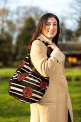 Bernadette Stripey and Red Flower Premium Bag