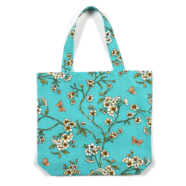 Julie Serenity Blue Blossom Shopping Tote Bag