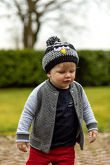 Madjoulen Grey Crochet Bird Kids Beanie