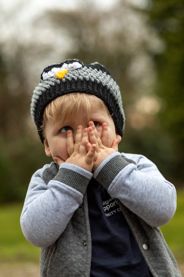 Madjolen Grey Crochet Bird Kids Beanie
