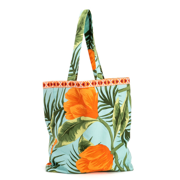 Parween Tangerine Tropical Flower Everyday Bag