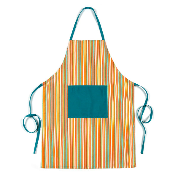 Ba Candy Striped Apron with Blue Pocket