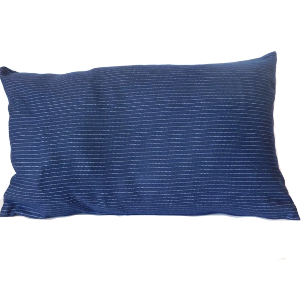 RECTANGULAR CUSHION COVER DARK BLUE STRIPED