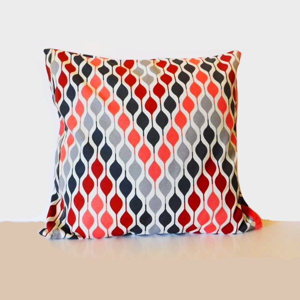 SQUARE CUSHION COVER ZIG-ZAG RED/GREY