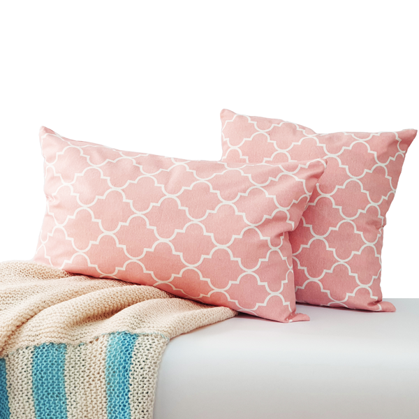 RECTANGULAR CUSHION COVER PINK PATTERN