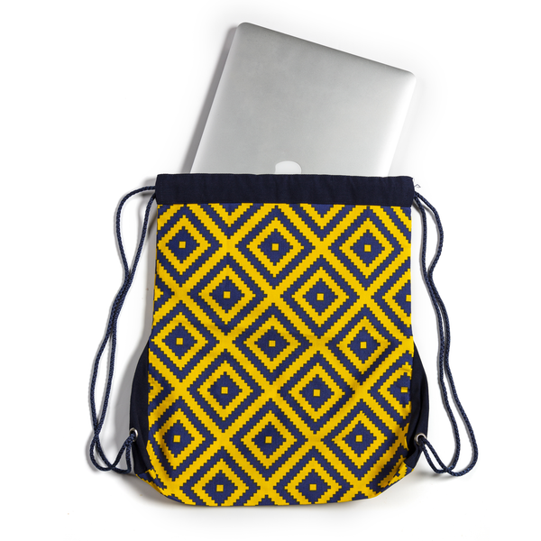 Eva Drawstring Backpack - Yellow with Racing Blue
