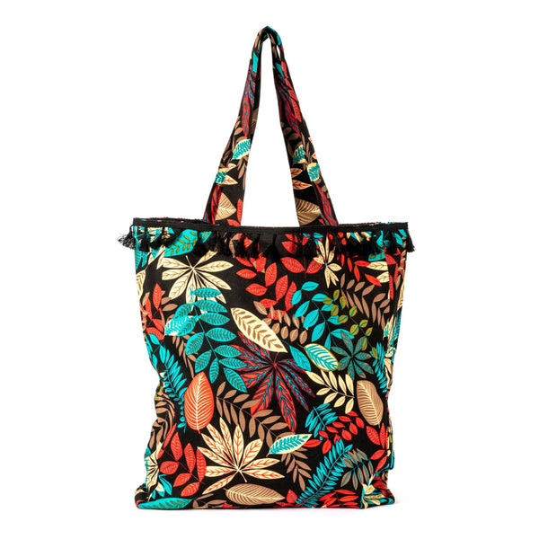 Parween Black Tropical Leaves Everyday Bag