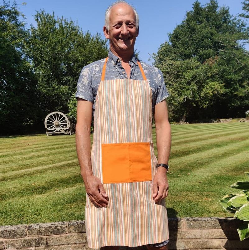 Ba Candy Striped Apron with Orange Pocket
