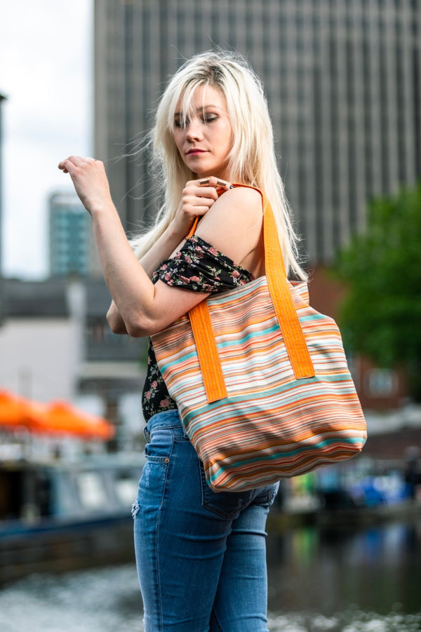 JULIE'S STRIPE BAG - Orange Handle