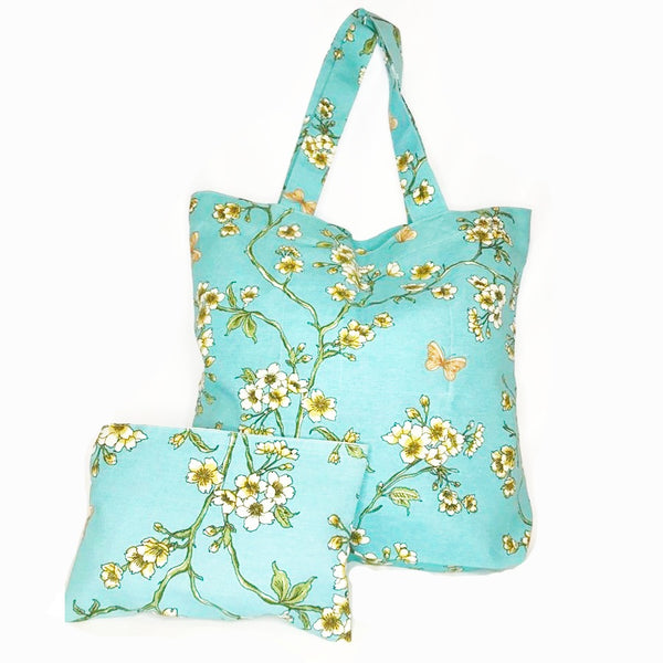 Julie Serenity Blue Blossom Shopping Bag plus Matching Makeup Purse £18