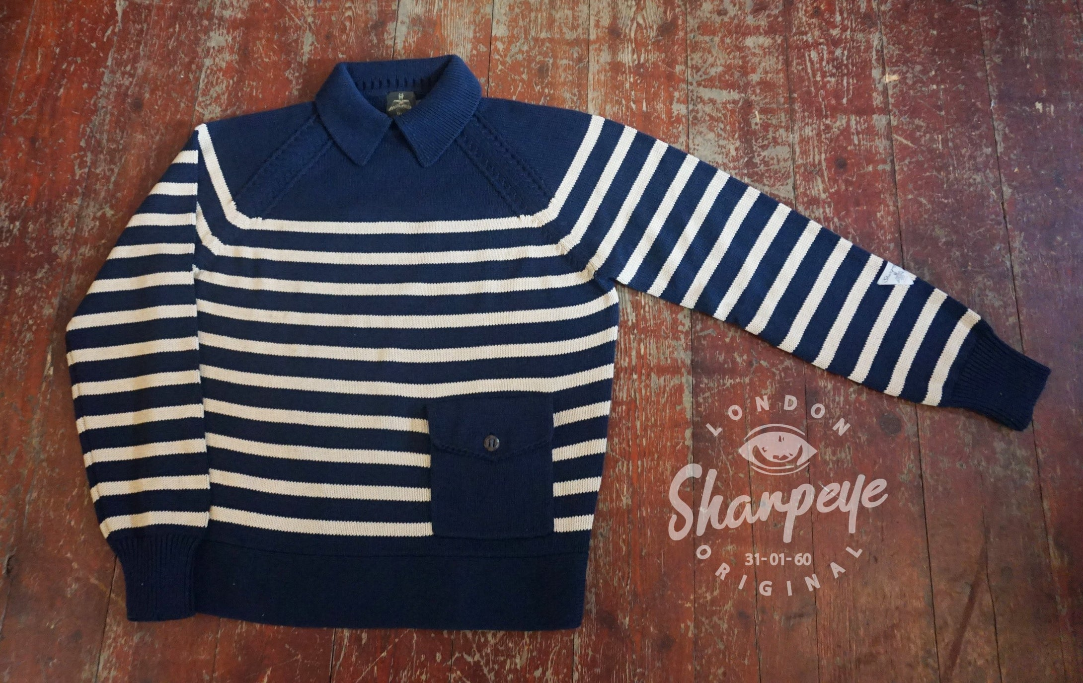 Despatch Knit-  Navy With Stone Stripe (1-in-Ten)