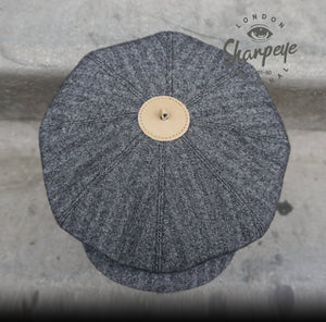 3 Point Stoker Cap - Grey Herringbone - 1930s Styling