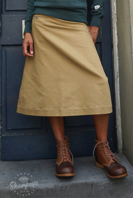 Ladies Catalan Skirt - Tan Japanese Gaberdine - (1-in-Ten)