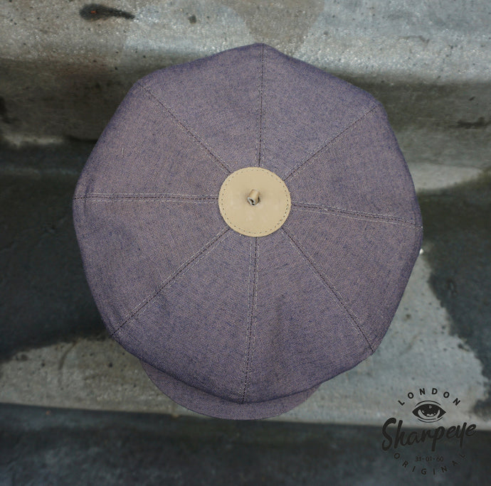 3 Point Stoker Cap - Two Tone - Summer Weight Cotton - Navy With Beige Undertone (1-in-Ten)