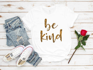 Leopard Blessed Inspirational Be Kind Message T-Shirt (Unisex)
