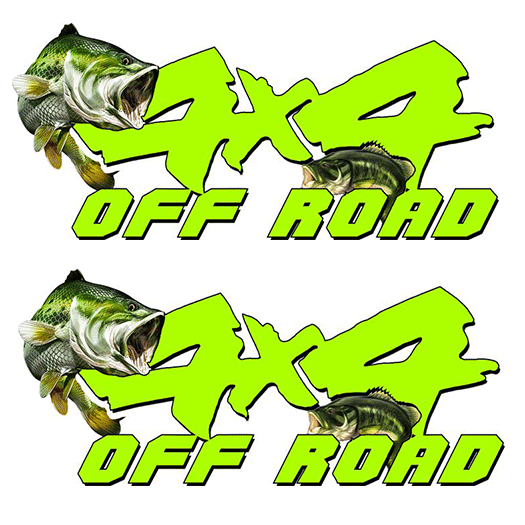 4X4 Lime Bass Decal