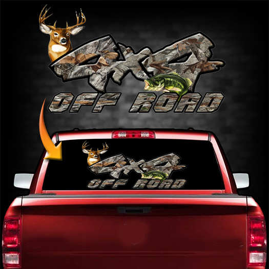 4x4 Bass/Whitetail Backwindow Decal