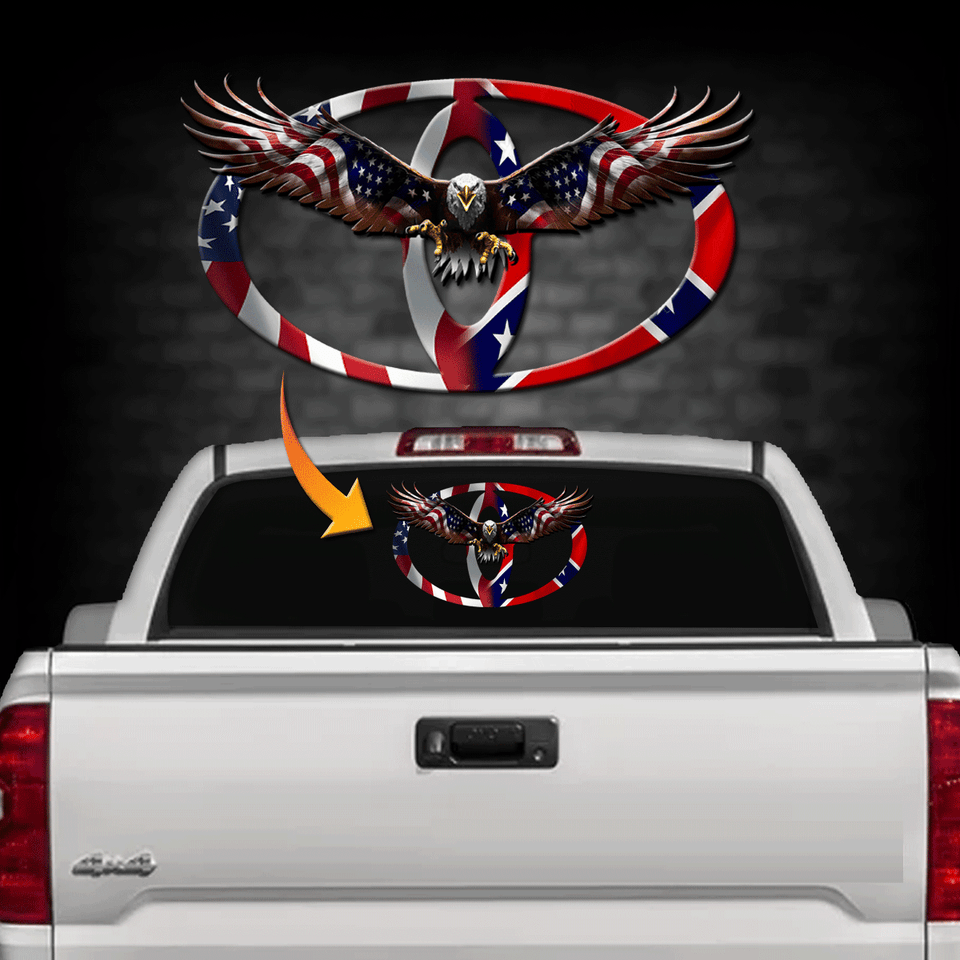 Toy.Dual Flag Back Window Decal