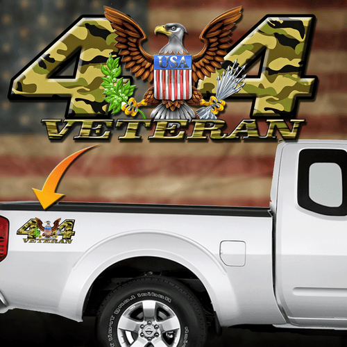 4x4  Army Veteran Decal camo
