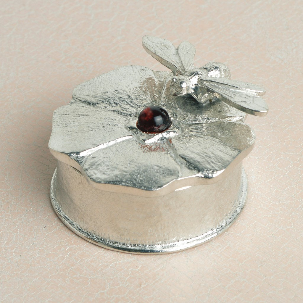 Bee on Flower Forget Me Not Pewter Keepsake Box