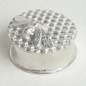 Bee on Honeycomb Pewter Keepsake Trinket Box