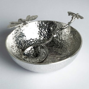 English Pewter Bee Bowl with Bee Pewter Spoon