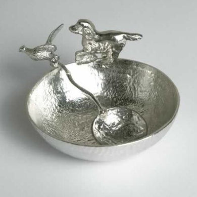 Pewter Springer Spaniel Bowl with Pheasant Spoon