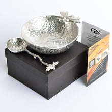 Load image into Gallery viewer, English Pewter Bee Bowl with Bee Pewter Spoon