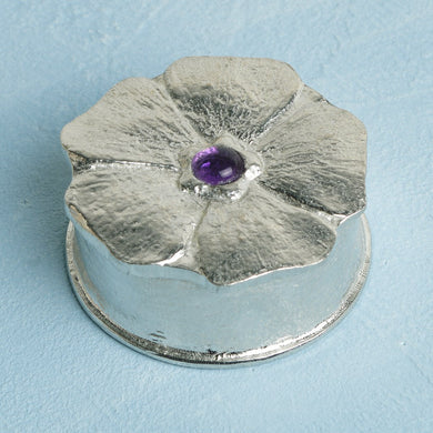 Forget Me Not Amethyst Pewter Keepsake Box