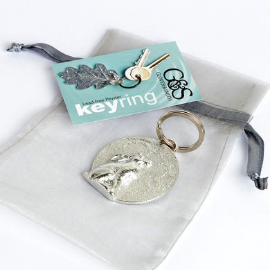 Hare Staring at the Moon Pewter Keyring
