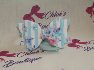 Blue & White Stripe Floral Elasticated Headband