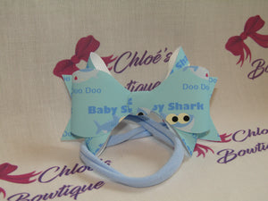 Blue Baby Shark Elasticated Headband