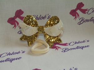 Gold Glitter & Cream Lace Elasticated Headband